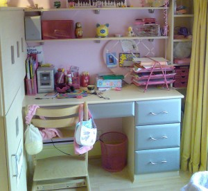 Handmade wooden bedroom desk for teenager